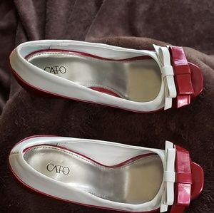 Cato red and white heels